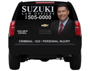 SUV Wrap for Suzuki Law Offices